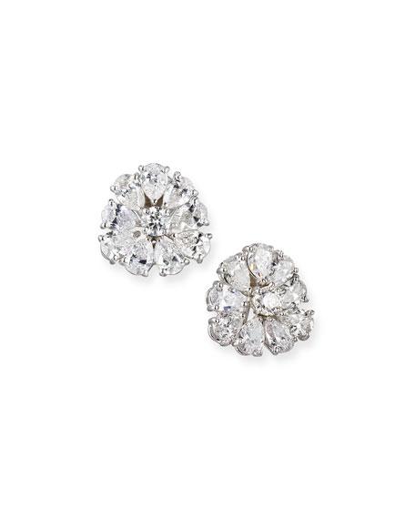 Pear-Shaped Diamond Cluster Earrings