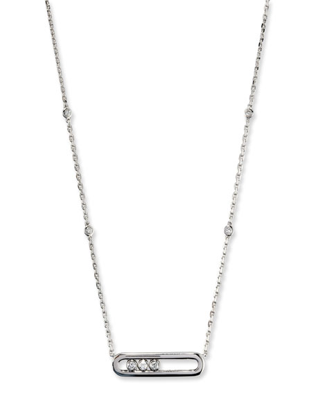 Move Diamond Pendant Necklace in 18K White Gold
