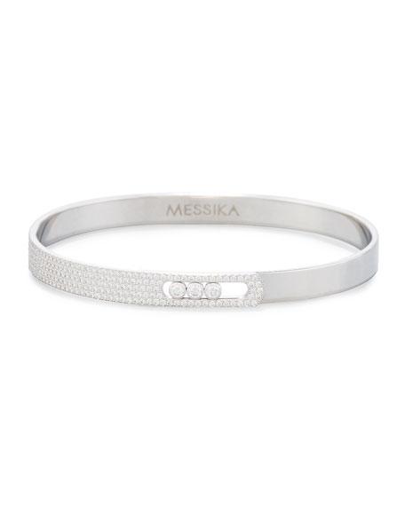 Move Noa Pavé Diamond Bracelet in 18K White Gold, Size Medium