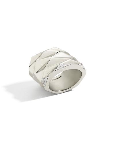 18K White Gold Plisse Ring with Diamonds, Size 8.5