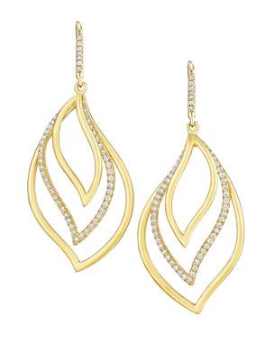 98728ff0a8d Carelle Brooke Leaf 18k Gold   Diamond Trio Drop Earrings