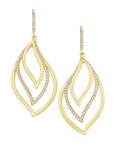 Brooke Leaf 18k Gold & Diamond Trio Drop Earrings