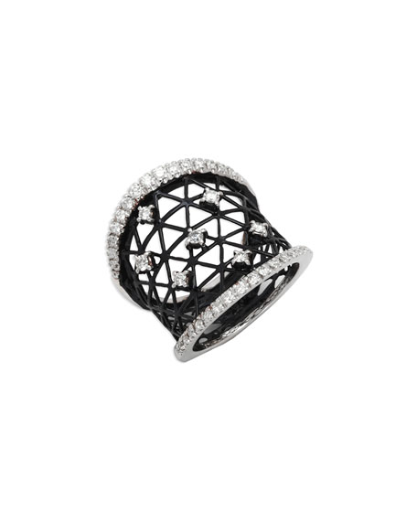 Staurino Fratelli 18k Moresca Openwork Ceramic Ring