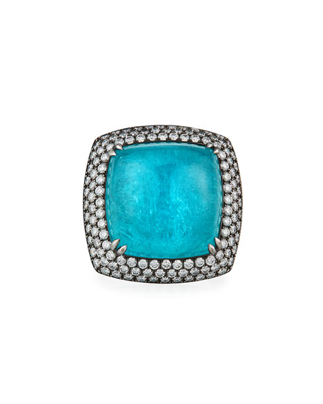 Alexander Laut 18k White Gold Paraiba Diamond-Trim Ring, Size 7