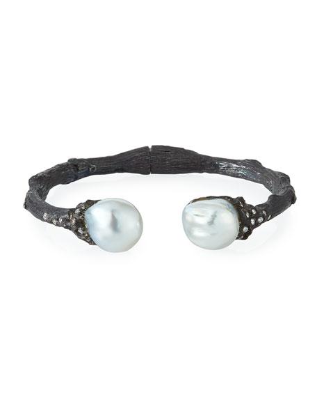 Twig Diamond & Pearl Split Cuff, White