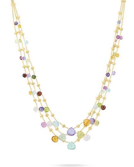 Paradise Three-Strand Mixed-Gem Necklace, 16.5""