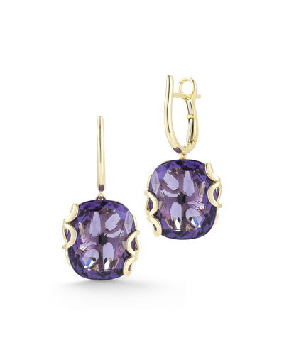 18k Gold Sea Leaf Amethyst Drop Earrings