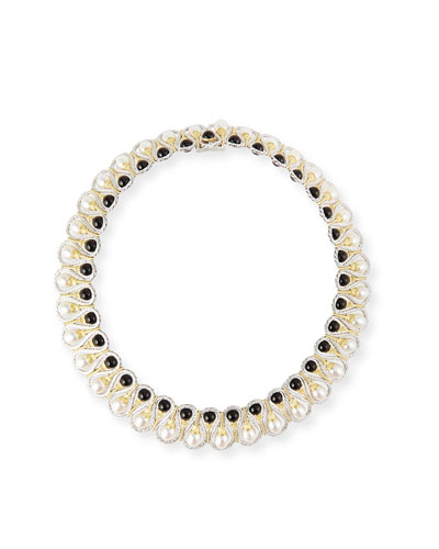 18k Gold Collar Necklace with Onyx and Pearls