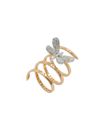 18k Rose Gold Magic Snake Spiral Flex Ring with Diamond Dragonfly