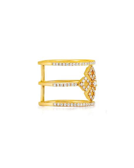Three-Row Diamond Illusion Ring in 18K Yellow Gold, Size 7
