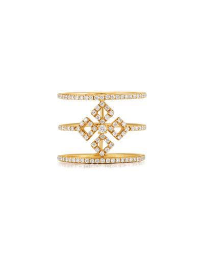 Three-Row Diamond Illusion Ring in 18K Yellow Gold