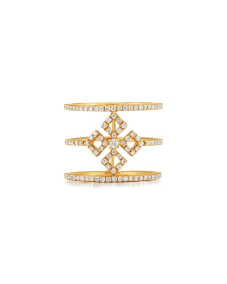 Three-Row Diamond Illusion Ring in 18K Yellow Gold