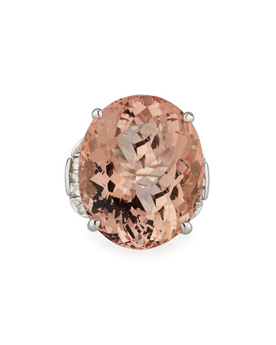 Platinum Morganite Ring w/ Mixed-Cut Diamonds  Size 6.75