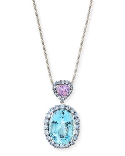 Platinum Aquamarine & Sapphire Heart Pendant Necklace