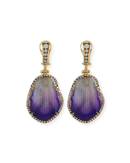 18K Diamond & Resin-Coated Orchid Petal Drop Earrings, Purple