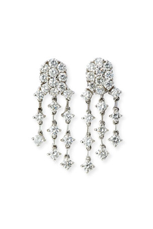 Andreoli Three-Strand Diamond Chandelier Earrings in 18K White Gold