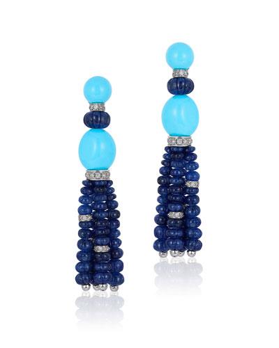 18k Blue Sapphire Tassel Earrings