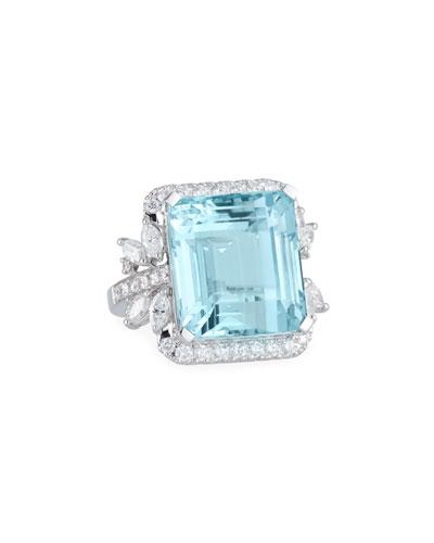 18k White Gold Aquamarine & Diamond Ring, Size 6.25