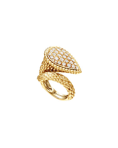 Serpent Boheme 18k Rose Gold Diamond Large Ring, Size 54