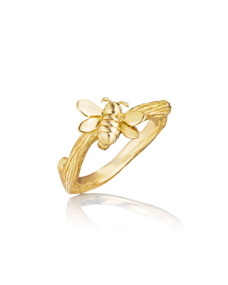 Wonderland 18K Gold Small Stackable Bee Ring, Size 8