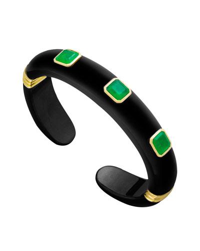 18k Black Jade  Green Quartz & Tsavorite Garnet Bracelet  Size M