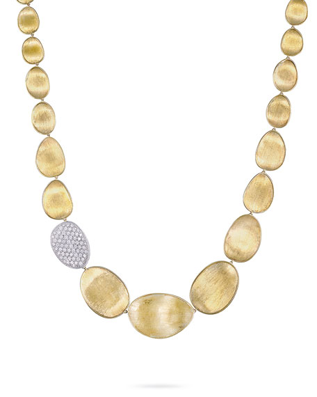 "Diamond Lunaria 18k Gold Necklace, 18""L"