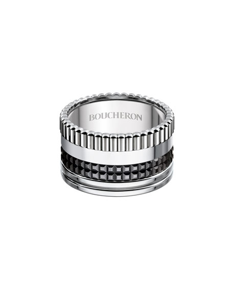 Quatre Black Edition Large Band Ring, Size 54