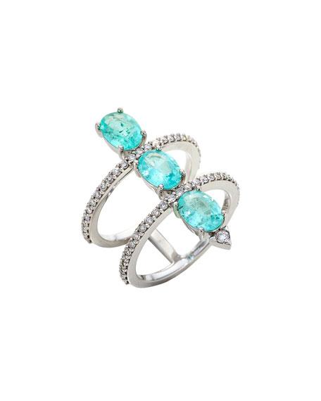 Stacked Paraiba Tourmaline & Diamond Ring, Size 7