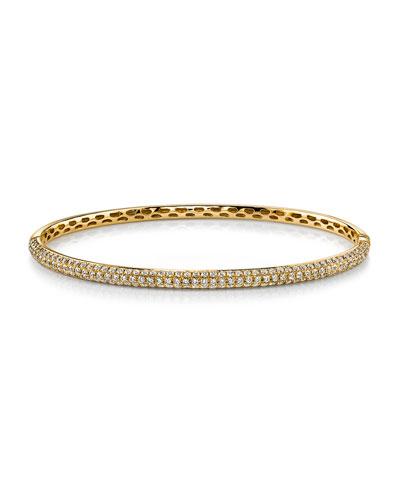 18k Gold 3-Row Diamond Bangle Bracelet