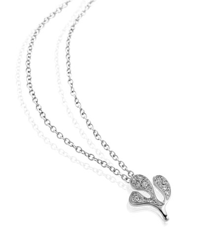 Sea Leaf Diamond Pendant Necklace in 18K White Gold