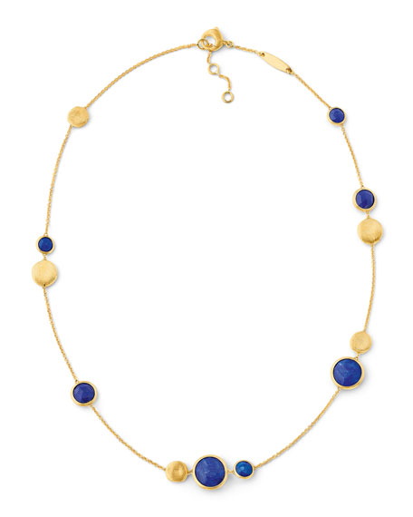 Jaipur 18K Gold Lapis Station Necklace