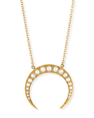Turner & Tatler 14k Pearly Crescent Pendant Necklace