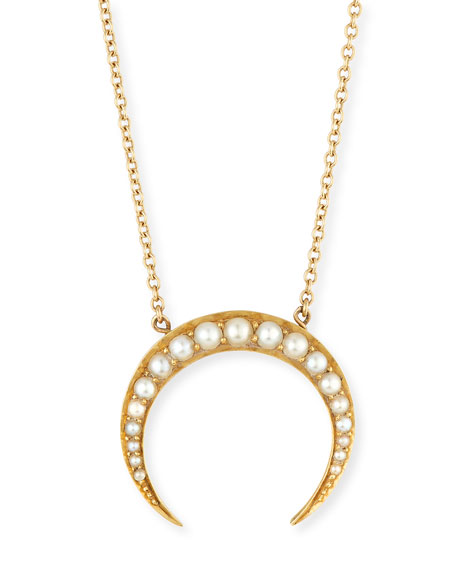 14k Pearly Crescent Pendant Necklace