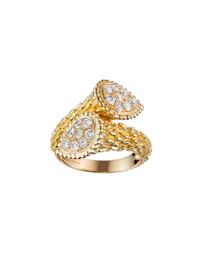 Serpent Boheme 18k Rose Gold Diamond Bypass Ring  Size 53