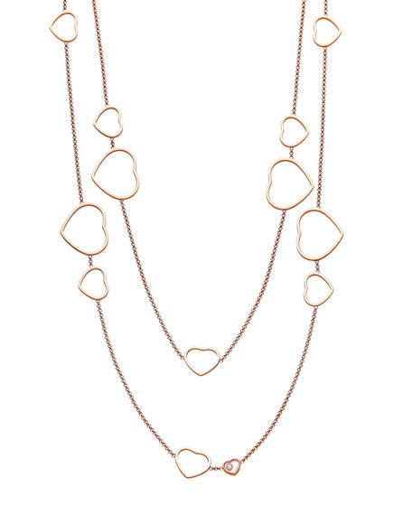 Happy Hearts 18k Rose Gold Diamond Long Station Necklace