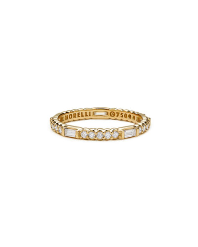 Diamond Pinpoint Baguette Ring in 18K Gold