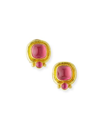 19k Pink Tourmaline Earrings