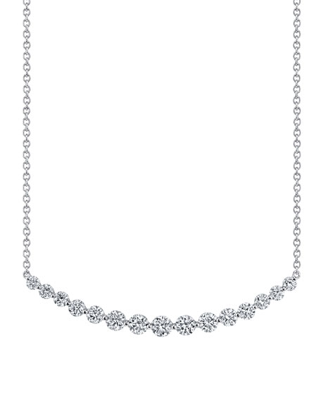 18k White Gold Crescent Diamond Necklace