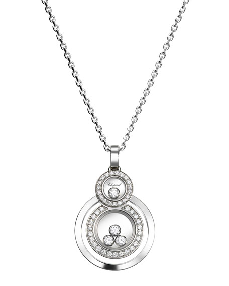Happy Diamonds Stacked Circle Pendant Necklace in 18K White Gold