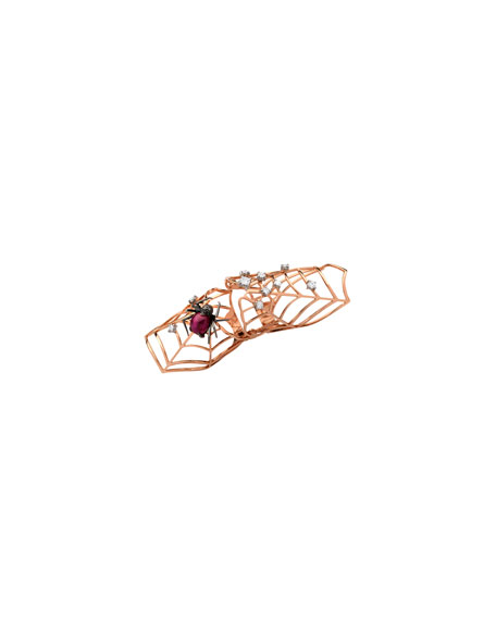 18K Rose Gold Flex Ruby Spider Ring with Diamonds, Size 7.5