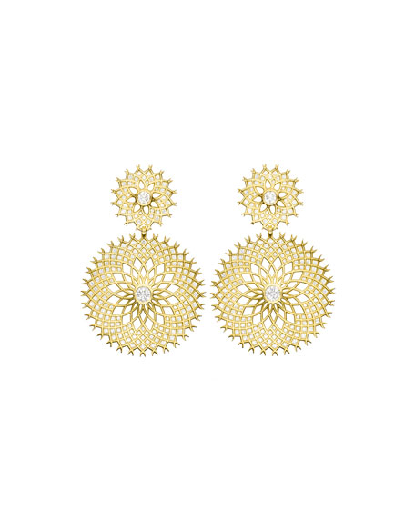 Spiral Mesh Diamond Drop Earrings