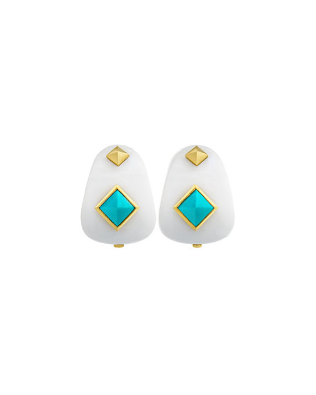 Weekend White Agate Earrings with Turquoise Studs