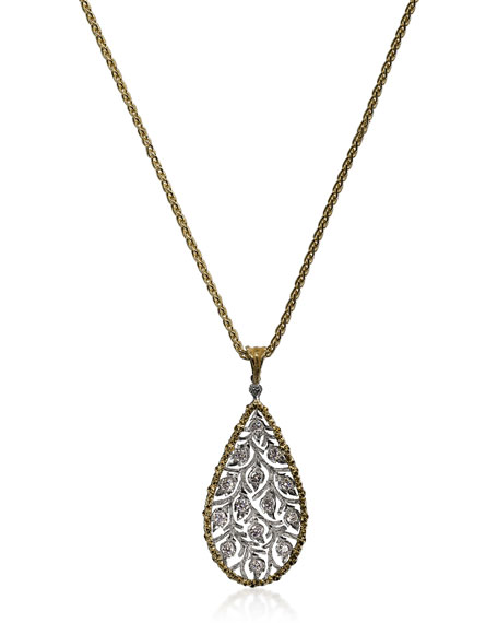 Buccellati Ramage 18k Diamond Leaf Teardrop Pendant Necklace