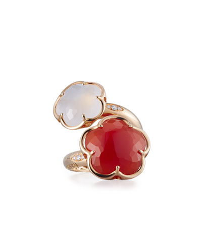 Bon Ton Carnelian & White Quartz Bypass Ring with Diamonds