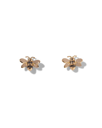 Wonderland Bee Stud Earrings with Black Diamonds