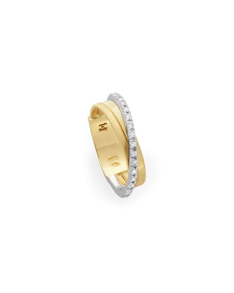 Marco Bicego Goa 18K Gold Diamond Crossover Ring