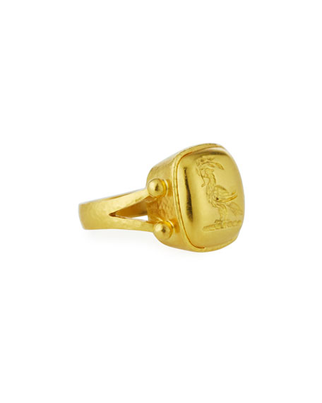 Elizabeth Locke 19k Yellow Gold Dove with Branch Ring