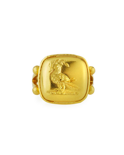 19k Yellow Gold Dove with Branch Ring