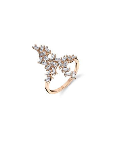 18k Rose Gold Diamond Baguette Ring  Size 7.5