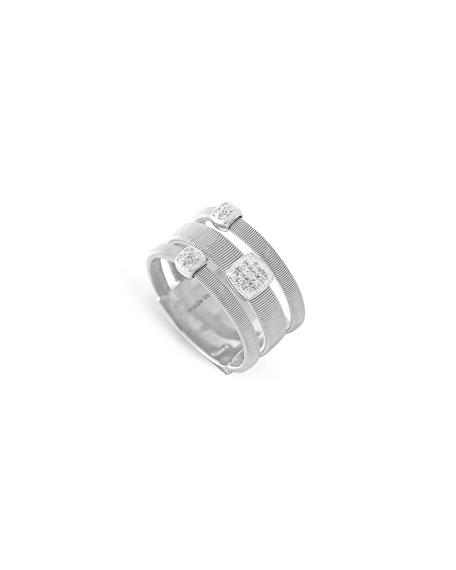 Masai Three-Row 18K White Gold Ring with Diamonds